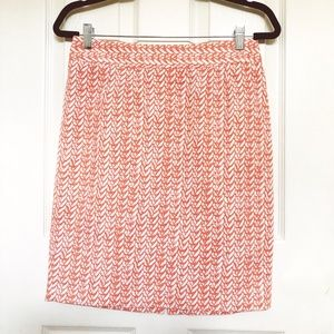 Cynthia Rowley Peach Coral Basket Weave Skirt US 6